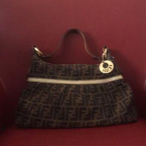 EUC medium Fendi Logo Bag Authentic